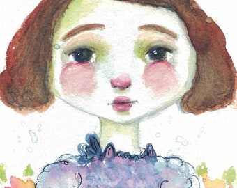 Original Mixed Media Watercolor Girl Flowers by Ceville Designs
