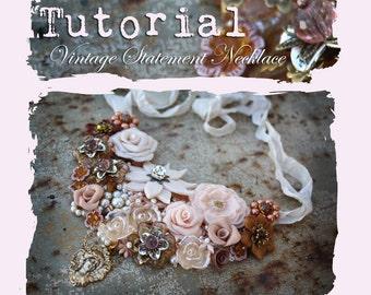 TUTORIAL // Vintage Repurposed Jewelry Statement Necklace PDF eBook