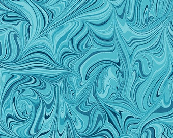 Circle Play - 10066-50 - Marble Tonal Medium Teal - by Ann Lauer of Grizzly Gulch Gallery for Benartex