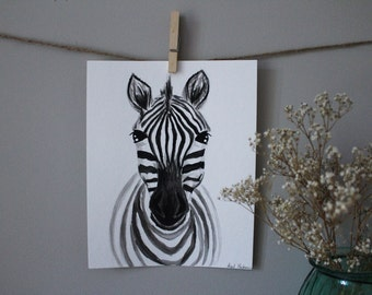 ORIGINAL Watercolor Baby Nursery Safari Animals Wall Art Zebra
