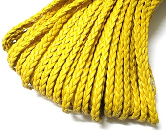 1 m yellow faux leather braided 5x2mm