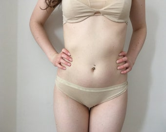 Entwine Sand Knickers - comfy - handmade - lingerie - hip brief