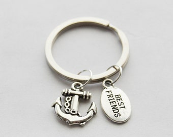 Best Friends GIft, Anchor Keychain, Nautical Gifts, Nautical Keychain, Anchor Key ring, Silver Anchor Charm, Silver Nautical Jewelry, Gifts