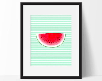 Watermelon Print,  Printable Watermelon Kitchen Decor, Summer Watercolor Watermelon Decor, Green and Pink Art Print, Fruit, Kitchen Print