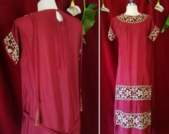 Blood Red Rayon 1920s Dress. Black Net and Floral Embroidery Egyptian Revival 20s Dress.