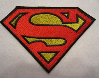 Embroidered Superman Iron On Applique Patch, Superman Applique, Superman Patch, Super Hero Patch