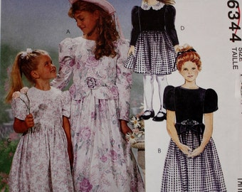 Girls Party Dress Sewing Pattern/ McCalls 6344/ Multiple Sizes