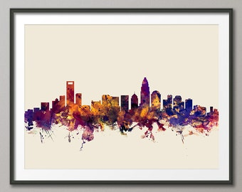 Charlotte Skyline, Charlotte North Carolina Cityscape Art Print (1837)