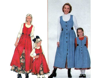 Mother and Daughter Matching Jumper and Petticoat Pattern, Misses Size XS-S-M-L-XL Child Size 3-4-5-6-7-8 UNCUT Simplicity 8292