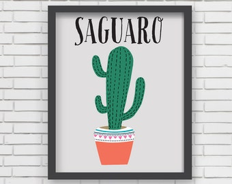 Southwest Art Print Home Decor - Saguaro Cactus Print - 8x10 or 11x14