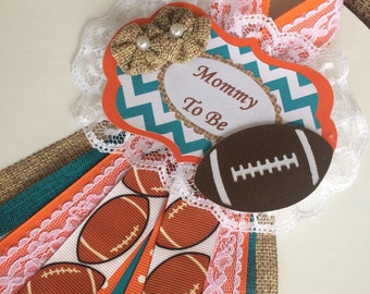Football baby shower corsage/Boy baby shower corsage/Football Mommy to Be corsage/Football baby shower/Teal and orange baby shower corsage