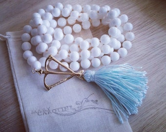 Natural White Shell Truth & Purity Mala Prayer Bead Necklace  / Eco-Friendly Jewelry