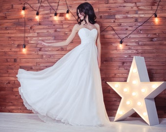 Beach wedding dress, chiffon wedding dress, simple wedding dress, empire wedding dress, wedding gown, strap less wedding dress