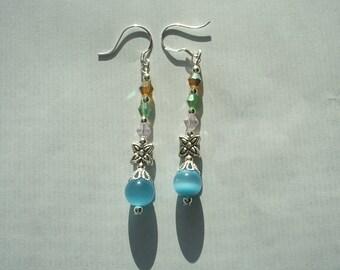1 Pair Sterling Silver-Turquoise Cat Eye Glass Dangle Earrings