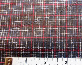 Black & Red Plaid Quilt/Craft Fabric - Vintage - 1/2 Yd