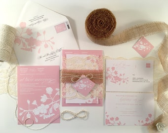 Cherry Blossom Wedding Invitation, Spring Wedding Invitations Rustic Burlap and Lace, Spring Cherry Blossom Flowering Tree Branch Light Pink
