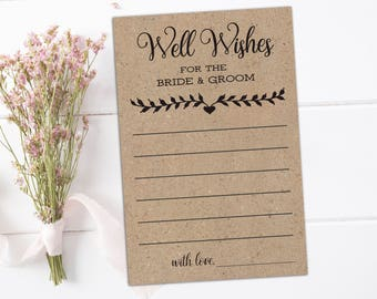 Well wishes cards Rustic advice cards for the bride Wedding wish card Wish well Bridal shower advice cards Guest advice Rustic bachelorette