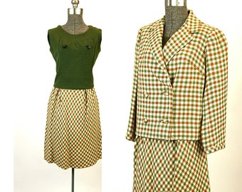 1960s suit skirt suit tweed checked jacket skirt top three piece suit olive green brown Size S