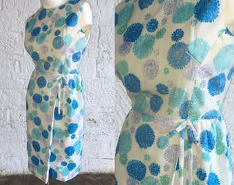 1950s White Dress with Clusters of Blues and Pinkish