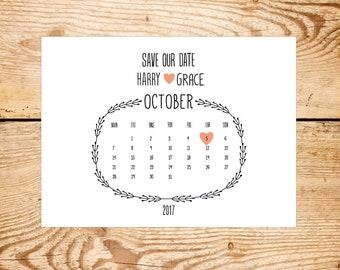 Calendar save the date - Rustic, cheap save the date