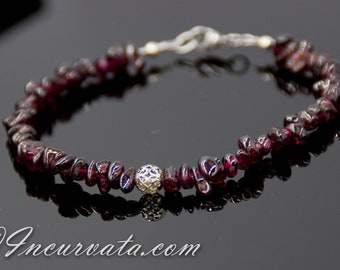 Garnet Bracelet with Filigree Focal