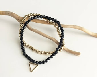 """gold plated """"dune"""" beads and onyx bracelet duo"""