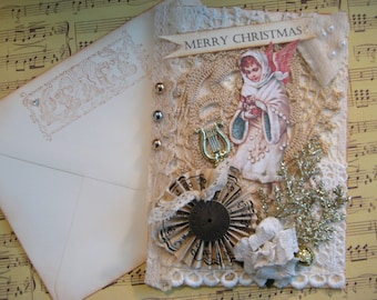 Christmas Card, Vintage Doilies, Shabby Chic Snow Angel