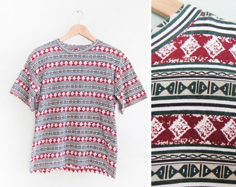 vintage t shirt / striped / tribal / oversize / 1990s oversize striped t shirt Small