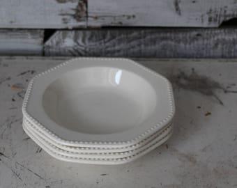 Ironstone Bowls / Set of 4 White Ironstone Bowls / Vintage White Ironstone Bowls / Octagon White Ironstone Bowls / Farmhouse Ironstone Bowls
