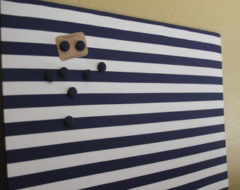 """Magnet Board (18"""" x 24"""") , Memo board, Navy blue and white stripes, office, organization, Magnetic Bulletin board"""