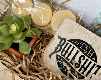 Gift Box, Happy Birthday Gift Box, Food Gift Box, Sugar Cookies, Bullshit Coaster, Stone Drink Coaster, Faux Succulent, Birthday Gift