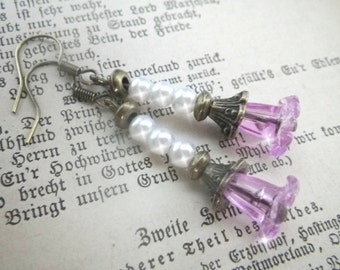 foxglove flower - chopsticks earrings in vintage style with dangle  fuchsia flowers and beads