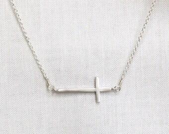 Sideways Cross Necklace Silver, Rose Gold Sideways Cross Necklace, Sideways Cross Necklace, Sideways Cross, Gold Cross, Cross Necklace