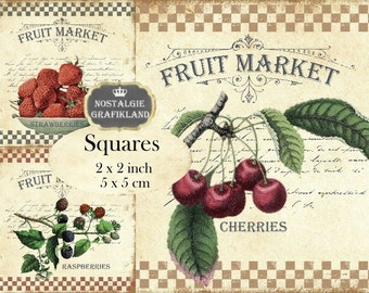 Fruit Market Fruits 2x2 inch squares Instant Download digital collage sheet TW150 strawberries cherries rasberries apples