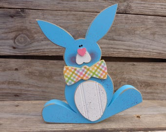 Easter Decor - Bunny Decor- Easter Decorations - Chunky Blue Bunny