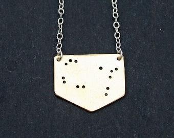 Gemini Zodiac Star Sign Constellation Necklace in Brass or Sterling Silver