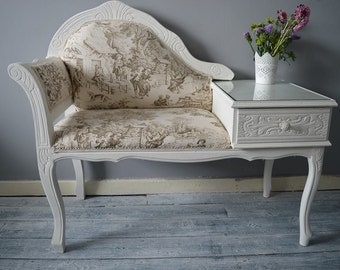 Shabby Chic Vintage Telephone Seat Chair Table Chaise Longue MADE TO ORDER