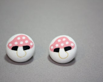 Pink Toadstool Button Earrings - Fairytale Post Fabric Covered Studs