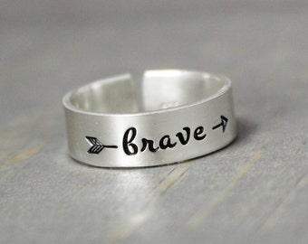 Silver Brave Ring, Silver Arrow Ring, Sterling Silver Ring, Inspiration Ring, Personalized Ring, Hand Stamped Ring, Hand Stamped Jewelry,