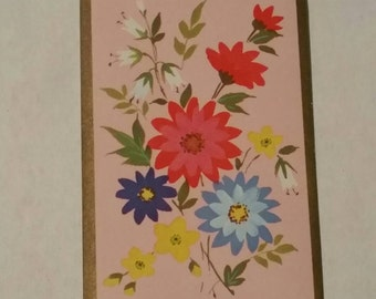 Vintage Floral Playing Cards, Set of 12, Swap Cards, Paper Crafting, Pink, Aqua, Flower Power