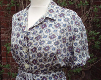 Original 1940S Vintage Paisley Day Dress UK 12 14 US 8 10