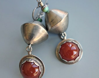 Vintage Carnelian Silver Earrings