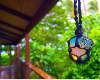 Opalite Hemp Crystal Wrap Necklace with Charm (Braided Design)