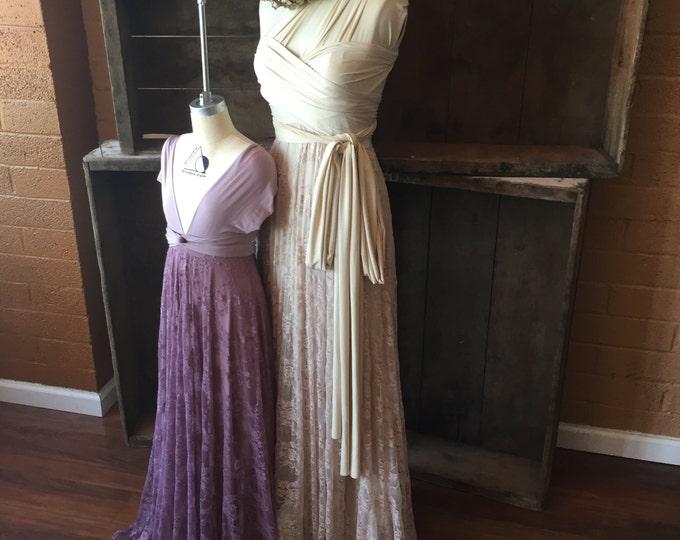 Coralie Beatrix Original- Antique look Lace Long Octopus Infinity Wrap Dress- Blush, Beige Lace -Wedding Gown, Bridesmaids, Maternity, Etc.