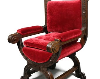 Antique Victorian Gothic Revival Oak Throne fully restored and reupholstered in