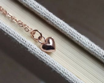 Tiny Rose Gold Heart Necklace. Rose Gold Heart Charm Necklace. Rose Gold Filled Chain.  Heart Necklace. Christmas Gift. Gift For Her