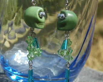 Crystal Skeleton Earrings - Halloween - Day of the Dead - Green and Blue