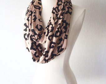 Modern Leopard Print Jersey Knit Infinity Scarf-Handmade from Jersey - For Her, Spring Fashion, Valentines Day, Mother's Day