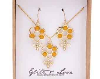 Honey bee on honeycomb earrings necklace set, bumble bee charm, bee keeper, cute bees, girlfriend bestie, topaz honey bee, meant to bee