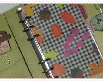 Autumn Plaid and Fall Leaves - Leaf Print Personal Planner Dashboard